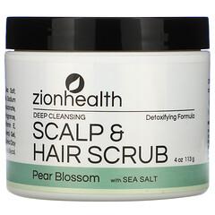 Zion Health, 頭皮深層潔淨和頭髮磨砂膏,梨花和海鹽,4 盎司(113 克)