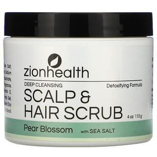 Zion Health, مقشر لتنظيف الشعر وفروة الرأس بعمق، أزهار الكمثرى وملح البحر، 4 أونصات (113 جم)