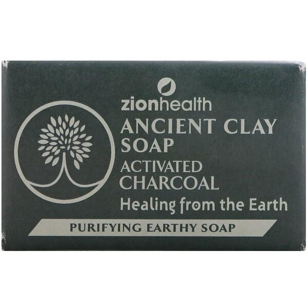 Zion Health, 古老的粘土皂,淨化土質肥皂,活性炭,6盎司(170克)