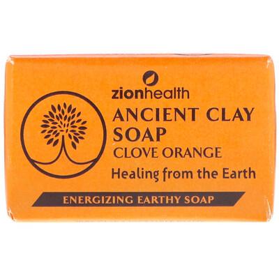 Zion Health Древнее глиняное мыло, гвоздика и апельсин, 6 унц. (170 г)