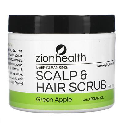 Zion Health Deep Cleansing Scalp & Hair Scrub with Argan Oil, Green Apple, 4 oz (113 g)