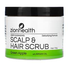 Zion Health, 深層清潔頭皮和頭髮磨砂膏,含摩洛哥堅果仁油,青蘋果味,4 盎司(113 克)