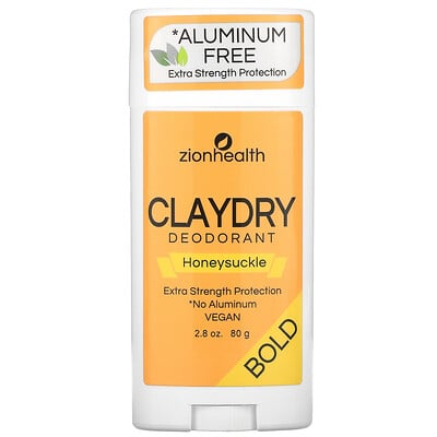 Zion Health Bold, ClayDry Deodorant, Honeysuckle, 2.8 oz (80 g)
