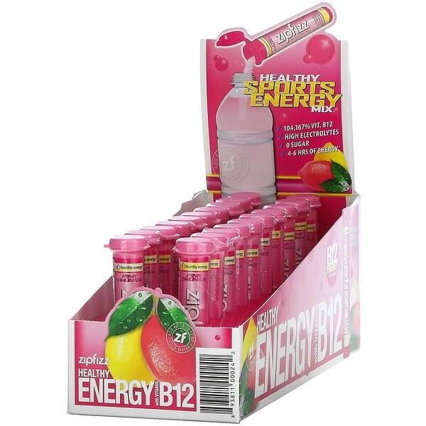 Healthy Sports Energy Mix with Vitamin B12, Pink Lemonade, 20 Tubes, 0.39 oz (11 g) Each