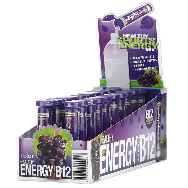 Healthy Energy Mix, Grape Pack, 20 Tubes, 11 g Each