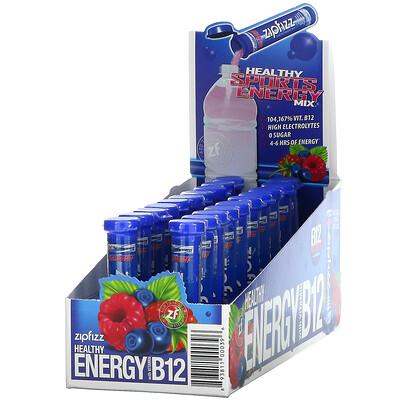 Zipfizz Healthy Energy Mix With Vitamin B12, Blueberry Raspberry, 20 Tubes, 0.39 oz (11 g) Each