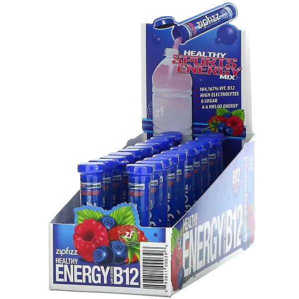 Healthy Sports Energy Mix with Vitamin B12, Blueberry Raspberry, 20 Tubes, 0.39 oz (11 g) Each