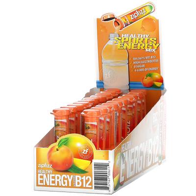Zipfizz Healthy Energy Mix With Vitamin B12, Peach Mango, 20 Tubes, 0.39 oz (11 g) Each
