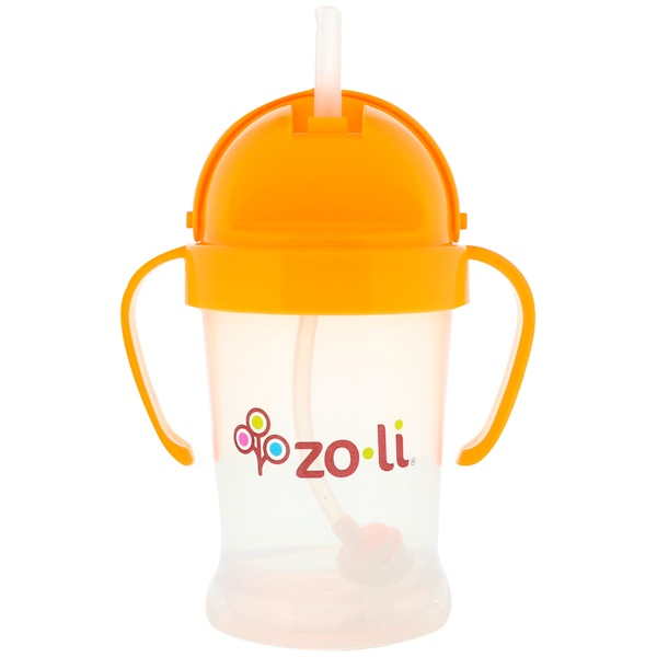 Zoli, Bot, Straw Sippy Cup, Orange, 6 oz