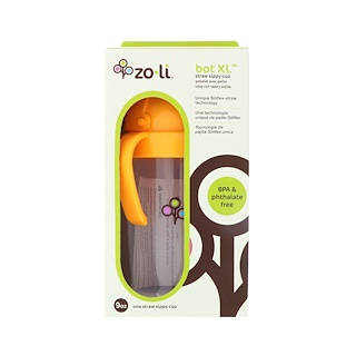 Zoli, Bot XL, Straw Sippy Cup, Orange, 9 oz
