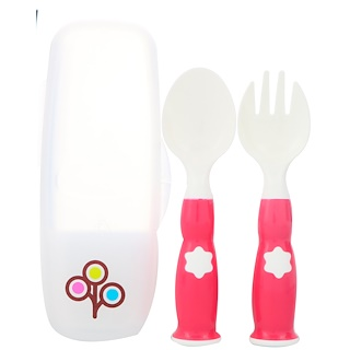 Zoli, Fork & Spoon Set, +6 mo, Pink, 2 Piece Set