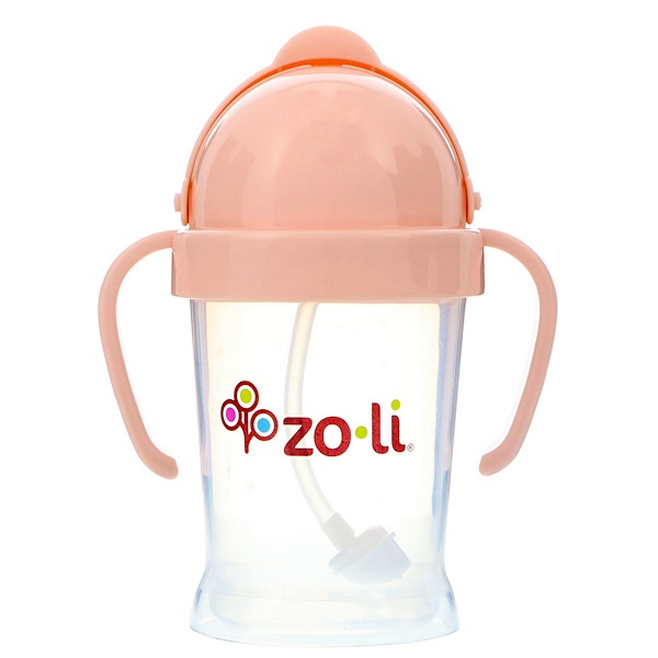 Zoli, Bot, Straw Sippy Cup, Blush, 6 oz (Discontinued Item)
