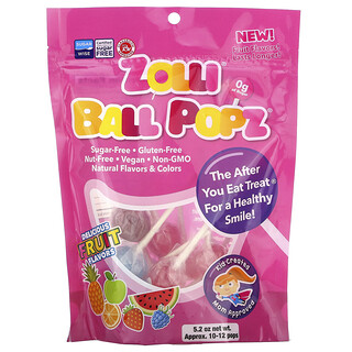 Zollipops, Zolli Ball Popz Fruit, Assorted, 10-12 Pops, 5.2 oz