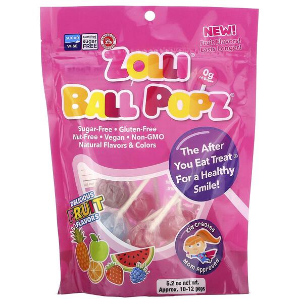 Zolli Ball Popz Fruit, Assorted, 10-12 Pops, 5.2 oz