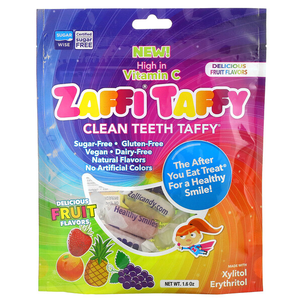 Zaffi Taffy, Clean Teeth Taffy, Delicious Fruit Flavors, 1.6 oz