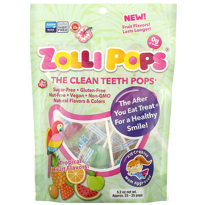 Zollipops The Clean Teeth Pops, Tropical Fruits, 23-25 Pops, 5.2 oz