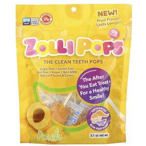 Zollipops, The Clean Teeth Pops, Peach, 3.1 oz