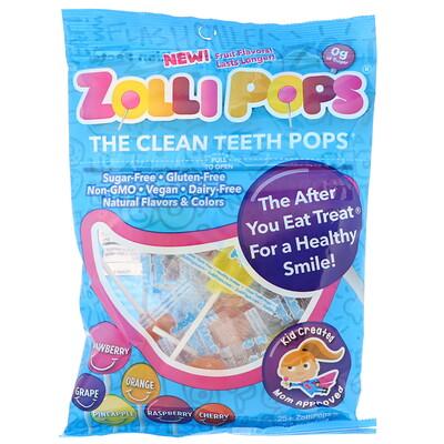 Zollipops Леденцы Clean Teeth Pops; клубника, апельсин, малина, вишня, виноград, ананас; 25+ ZolliPops, 5,2 унции