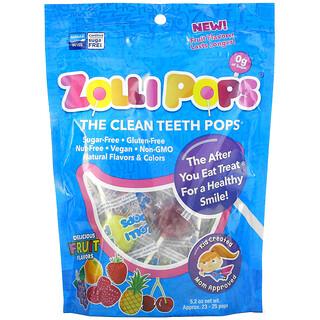 Zollipops, The Clean Teeth Pops, Strawberry, Orange, Raspberry, Cherry, Grape, Pineapple, Approx. 23-25 ZolliPops, 5.2 oz