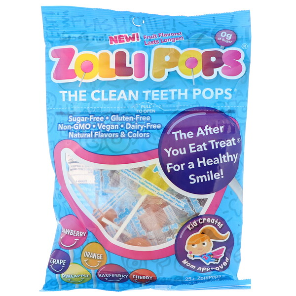 Zollipops , The Clean Teeth Pops, Strawberry, Orange, Raspberry, Cherry, Grape, Pineapple, 25+ ZolliPops, 5.2 oz
