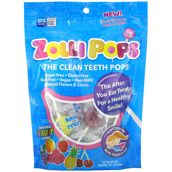 Zollipops, The Clean Teeth Pops, Strawberry, Orange, Raspberry, Cherry, Grape, Pineapple, Approx. 23-25 ZolliPops, 5.2 oz