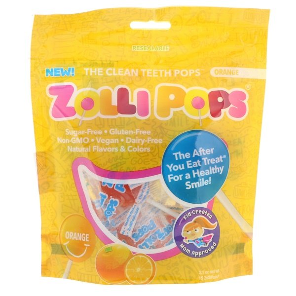 Chupetines que limpian los fientes, naranja, 15 ZolliPops, 3.1 oz