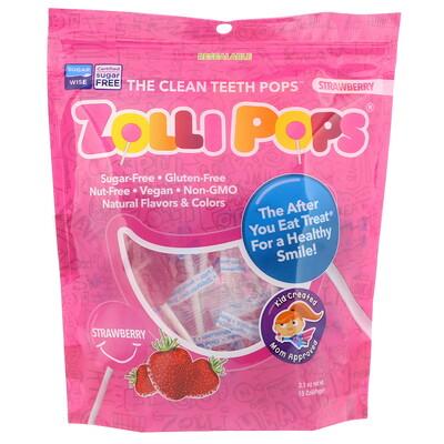 Купить Zollipops Леденцы на палочке The Clean Teeth Pops, с клубничным вкусом, 15 шт., (3, 1 унц.)