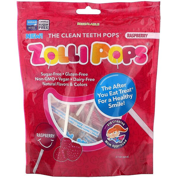 Zollipops, The Clean Teeth Pops, Raspberry, 15 ZolliPops, 3.1 oz