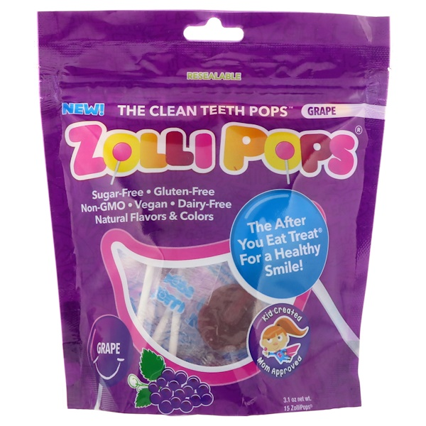 Zollipops , The Clean Teeth Pops,葡萄,15 ZolliPop,3、1盎司