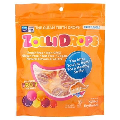 Zollipops Zolli Drops, леденцы для чистки зубов, со вкусом фруктов, 15+ леденцов Zolli, 45г (1,6унции)