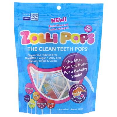 Zollipops The Clean Teeth Pops, клубника, апельсин, малина, вишня, виноград, ананас, примерно 15 леденцов ZolliPops, 3,1 унции