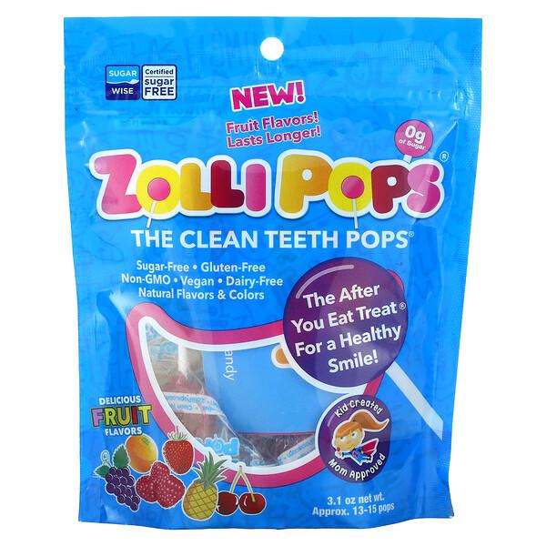 Zollipops, The Clean Teeth Pops، بنكهات الفواكه اللذيذة، من 13 إلى 15 مصاصة تقريبًا، 3.1 أونصة