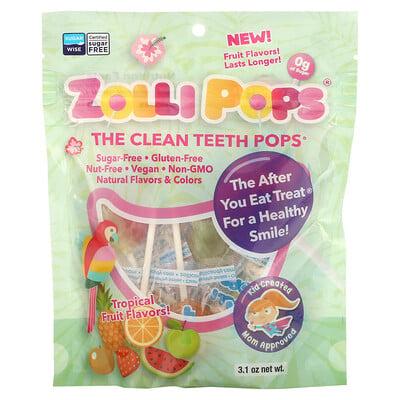 Zollipops, The Clean Teeth Pops, Tropical Fruit Flavors, 3.1 oz