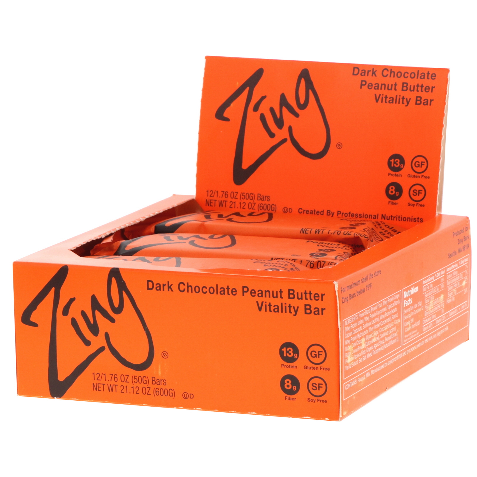 Zing Bars, Vitality Bar, Dark Chocolate