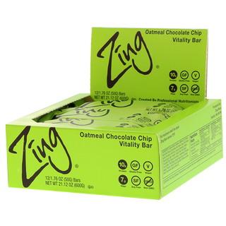 Zing Bars, Vitality Bar, Oatmeal Chocolate Chip, 12 Bars, 1.76 oz (50 g) Each