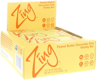 Zing Bars, Vitality Bar, Peanut Butter Chocolate Chip, 12 Bars, 1.76 oz (50 g) Each