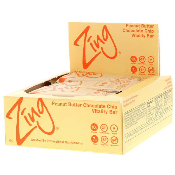 Zing Bars, Vitality Bar, Peanut Butter Chocolate Chip, 12 Bars, 1.76 oz (50 g) Each (Discontinued Item)