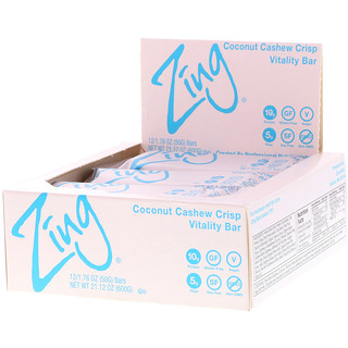 Zing Bars, Vitality Bar, Coconut Cashew Crisp, 12 Bars, 1.76 oz (50 g) Each