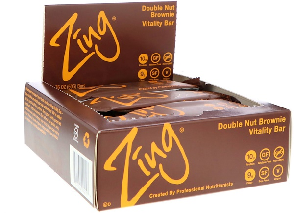 Zing Bars, Vitality Bar, Double Nut Brownie, 12 Bars, 1.76 oz (50 g) Each (Discontinued Item)