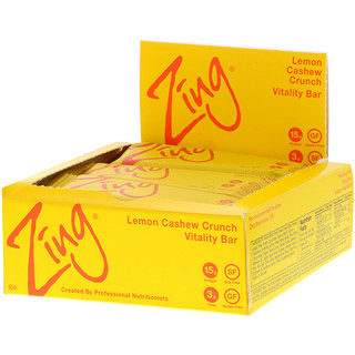 Zing Bars, Vitality Bar, Lemon Cashew Crunch, 12 Bars, 1.76 oz (50 g) Each
