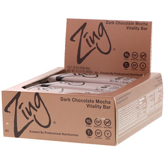 Zing Bars, Vitality Bar, Dark Chocolate Mocha, 12 Bars, 1.76 oz (50 g) Each