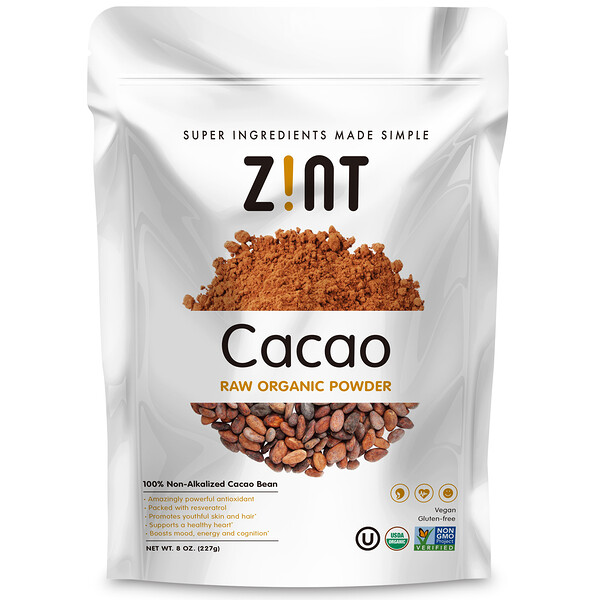 Zint, Cacao Raw Organic Powder, 8 oz (227 g)