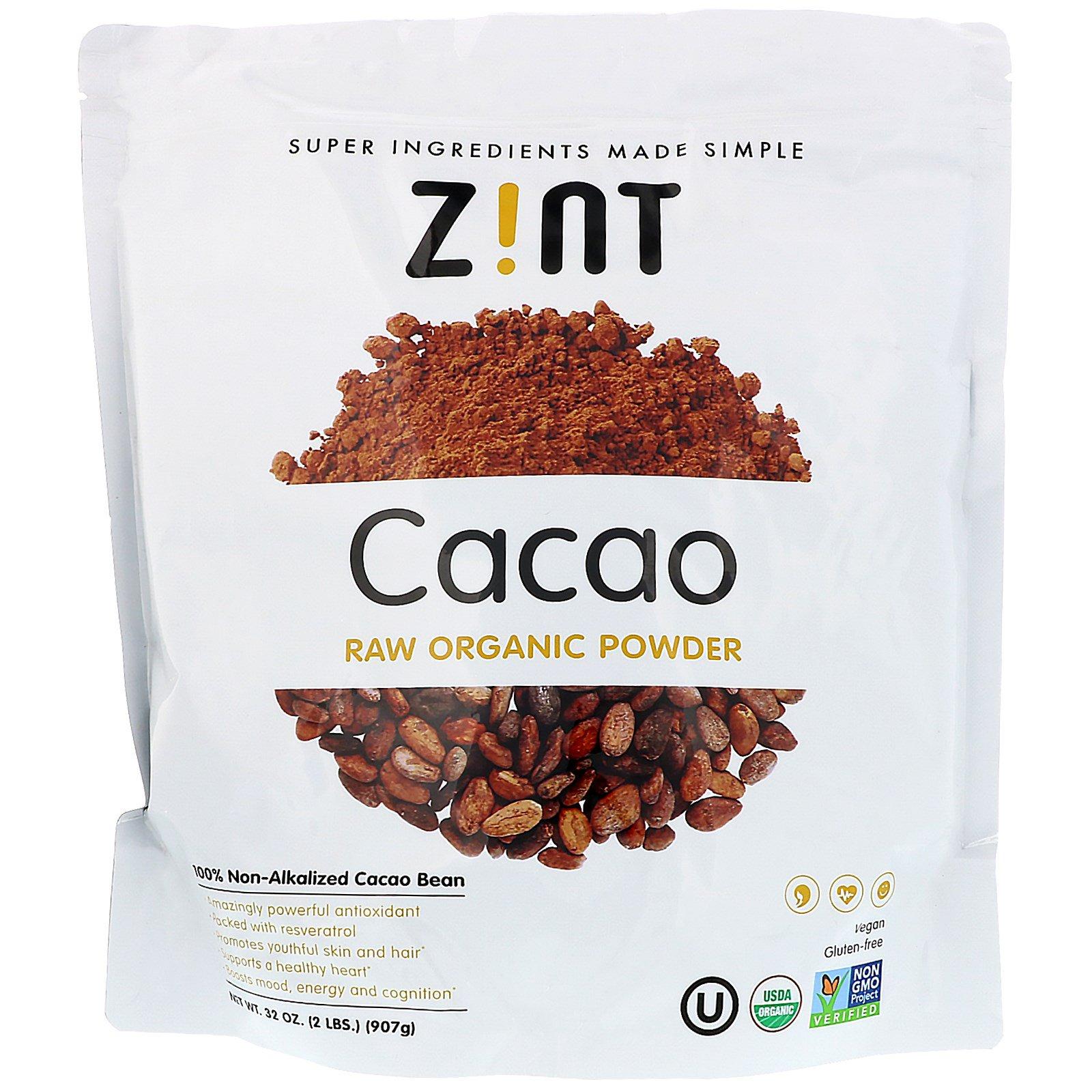 Z!NT, Какао, необработанный органический порошок, 907 г (32 унции)