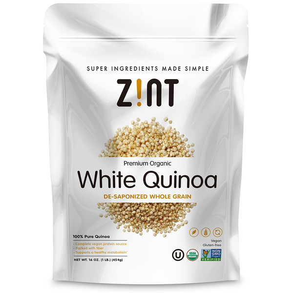 Zint, Quínoa blanca orgánica, alta calidad, grano entero desaponificado, 16oz (454g) (Discontinued Item)