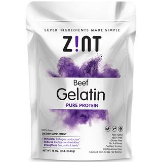 Zint, Gélatine de boeuf, Protéine pure, 16 oz (454 g)
