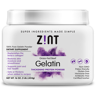 Zint, Grass-Fed Beef Gelatin, Thickening Protein Powder, 16 oz (454 g)
