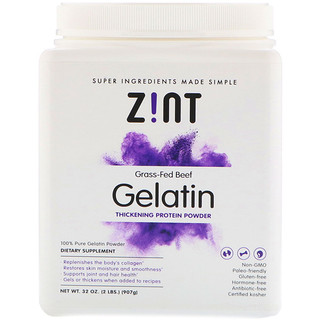 Zint, Grass-Fed Beef Gelatin, Thickening Protein Powder, 32 oz (907 g)