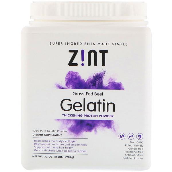 Zint, Grass-Fed Beef Gelatin, Thickening Protein Powder, 2 lbs (907 g)