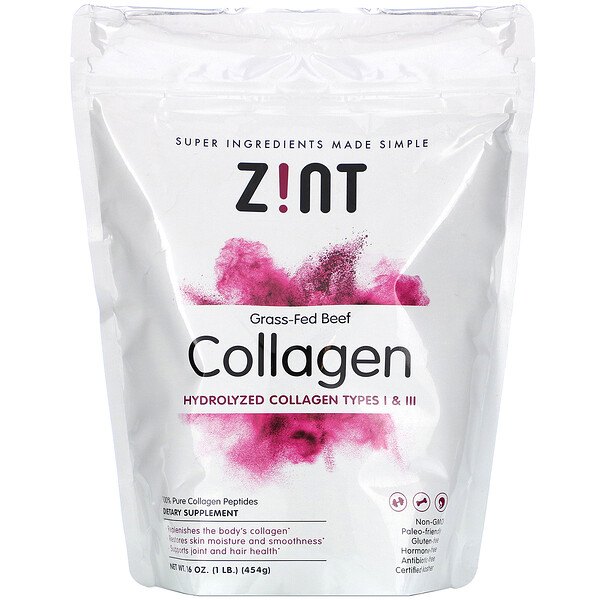 Zint, Grass-Fed Beef Collagen, Hydrolyzed Collagen Types I & III, 16 oz (454 g)