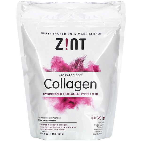 Colágeno de carne de vacuno alimentado con pasto, colágeno hidrolizado tipos I y III, 16 oz (454 g)